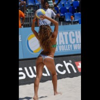 Volleyball Beach Wear - Brunette Hair, Long Hair , White Thong, Red Watch, Horizontal Butt Cleavage, Ankle Bracelet, Long Curly Brunette Hair, Athletic Body, Green Bra Sports Wear, Bikini, Beach Volleyball