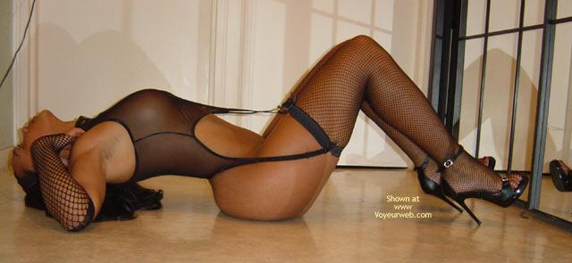 Pic #1 - Black Fishnet Lingerie - Heels , Black Fishnet Lingerie, Black Spike Heels, Lying On Back, High Heels, Dressed Sexy
