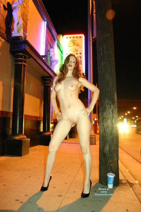 Pic #1 - Naked Exhibitionist - Exhibitionist, Flashing, Heels, Long Hair, Nude In Public, Red Hair, Small Breasts, Small Tits, Naked Girl, Nude Amateur, Small Areolas , Red Head, Medium Size Perky Breasts, Nip - Standing Legs Open On A Sidewalk, Long Red Hair