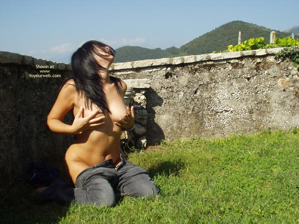 Pic #1 - Pants Down - Big Tits , Pants Down, Touching Tits, Outdoor Posing, Touching Big Breasts, Hands On Boobs