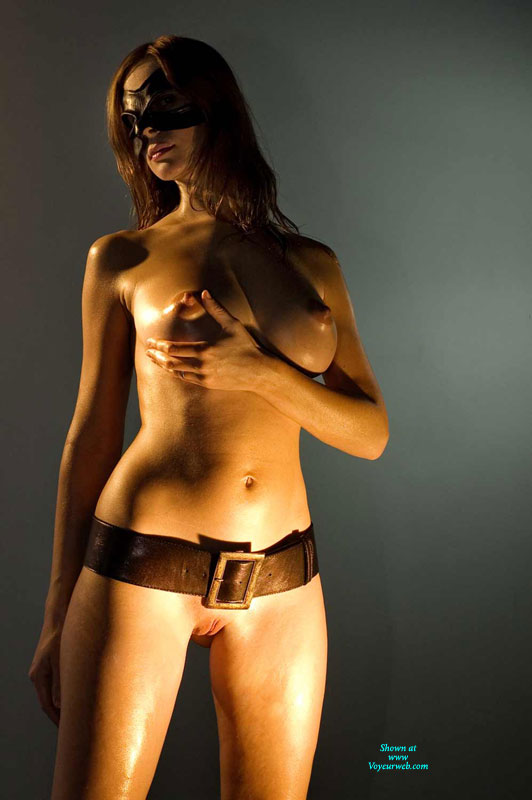 Masled Naked Girl - Big Tits, Brown Hair, Erect Nipples, Shaved Pussy, Bald Pussy , Hand Cupping Breast, Oiled Body, Round Breast, Brown Belt