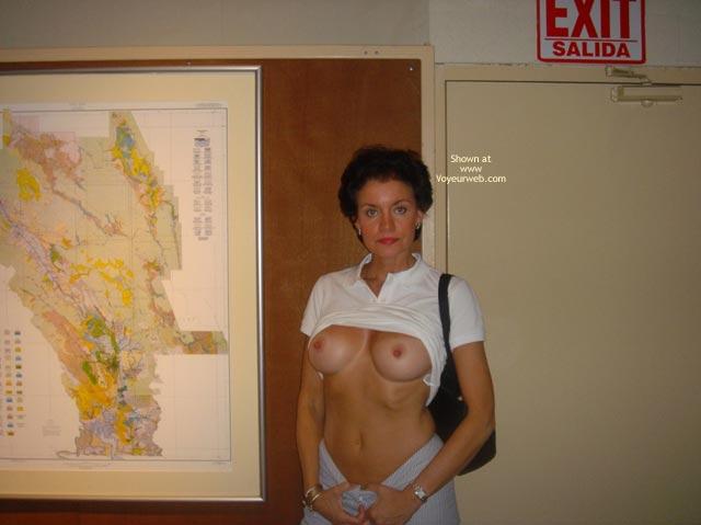 Pic #1 - Exhibitionist - Exhibitionist, Flashing Tits, Long Nipples, Short Hair , Exhibitionist, Flashing Tits, Short Hair, Long Nipples, White Blouse, Black Purse