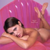 Naked On Pink Inflatable Couch