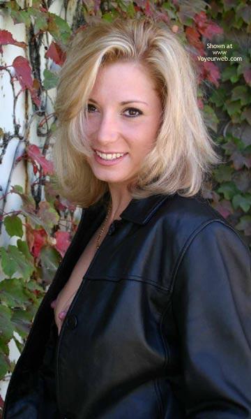 Pic #1 - Nip Slip - Blonde Hair, Hard Nipple , Nip Slip, Black Leather, Blonde, Hard Nipples, Open Black Leather Jacket, Nipple Peek