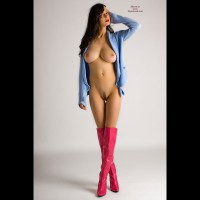 Long Lean Legs - Brown Hair, Brunette Hair, Huge Tits, Landing Strip, Long Legs, Trimmed Pussy, Sexy Boobs, Sexy Legs , Glamour Shot, Hot Pink Knee-high Boots, Long Landing Strip, Pink Boots, Blue Knit Sweater