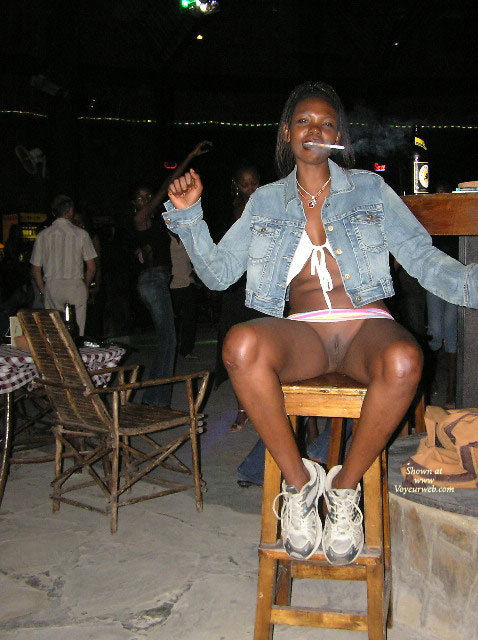 Beaver Shot At The Bar - Shaved Pussy , On A Barstool, Showing Pussy Upskirt, White Bikini Top, Running Shoes, Public Show, Pussy In Public, Black Pussy In Bar, Denim Jacket, Shaved Black Pussy