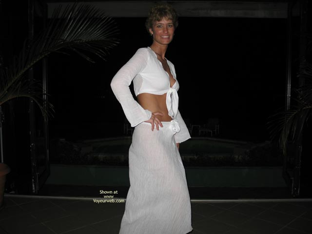Pic #1 - Peek At Breast - Flat Stomach , Peek At Breast, Thin Waist Flat Stomach, Long White Skirt, White Crop Top, At Night In White
