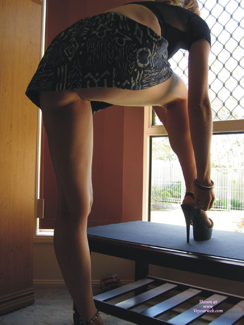 Pic #1 - Bottomless Upskirt Shot - Upskirt , Black Platform Heels, Black Top, At The Window, Low Camera Angle, From Below, Black Micro Skirt, Bottomless Upskirt, Backlit In Front Of Window, Up-skirt By Window, Natural Light, Bottomless, Extreme High Shoes