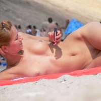 Voyeur Shot On Beach - Brown Hair, Long Hair, Nude Beach, Small Breasts, Small Tits, Trimmed Pussy, Beach Tits, Beach Voyeur, Naked Girl, Nude Amateur