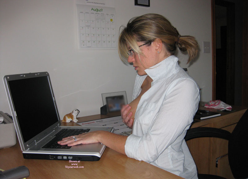 Pic #1 - Wife Playing With Her Tits While On Computer , Working Girl, Computer Sex, Secratary Tit Play, White Blouse, Fondle At Work, Hands On Breasts, Playing With Herself In The Office, Turned On At Work, Wife Playing With Herself, Fondling At The Computer