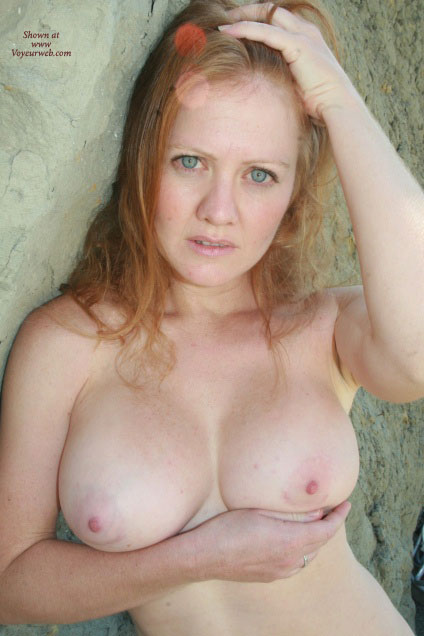 Pic #1 - Topless Wife Confused Expression On Face - Big Tits, Blonde Hair, Blue Eyes, Red Hair, Topless, Topless Wife , Readhead Love, Cupping Breast, Nice Big Tits, Green Eyes, Busty, Freckled Skin, Outdoor Topless, Carrying Her Breasts With One Hand, Strawberry Blonde