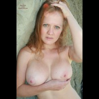 Topless Wife Confused Expression On Face - Big Tits, Blonde Hair, Blue Eyes, Red Hair, Topless, Topless Wife