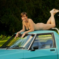 Naked On The Car Roof - Brunette Hair, Milf, Perky Tits, Naked Girl, Nude Amateur