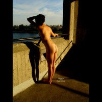 Rear Nude Girl On Bridge - Naked Girl, Nude Amateur , Naked At Bridge, Bent Over A Bridge, Naked, Outdoors, At Bridge Railing From Left Rear., Looking Out Over The Water., Standing At A Railing, Rear View, Naked Silhouette, Nude On Bridge, Butt Sticking Out, Holding Railing With Left Hand, Naked Sight Seeing, Full Nude From Behind