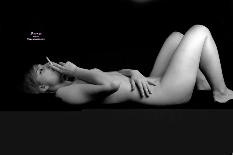 Pic #1 - Lying Naked And Smoking - Naked Girl, Nude Amateur , Smoking A Cigarette, Smoking, Black And White, Laying On Back Knees Raised, Black And White Side View, She Smokes Before Sex, Artistic On Couch, Lying Down, Knees Raised, Peeking Nipple, Nude Laying Down Smoking, Laying Down Knees Up