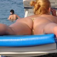 Ass On A Beach - Blonde Hair, Topless, Beach Voyeur