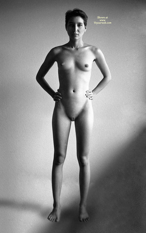 Pic #1 - Nude Art - Shaved Pussy, Small Breasts, Naked Girl, Nude Amateur , Shaved Muff, Black And White Photo, Black And White Nude, Standing Full Frontal, Skinny Body, Teen Tits, Boyish Hair Cut