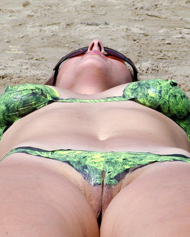 Shy Wife? painted bikini pussy view. Painted Bikini Pussy View