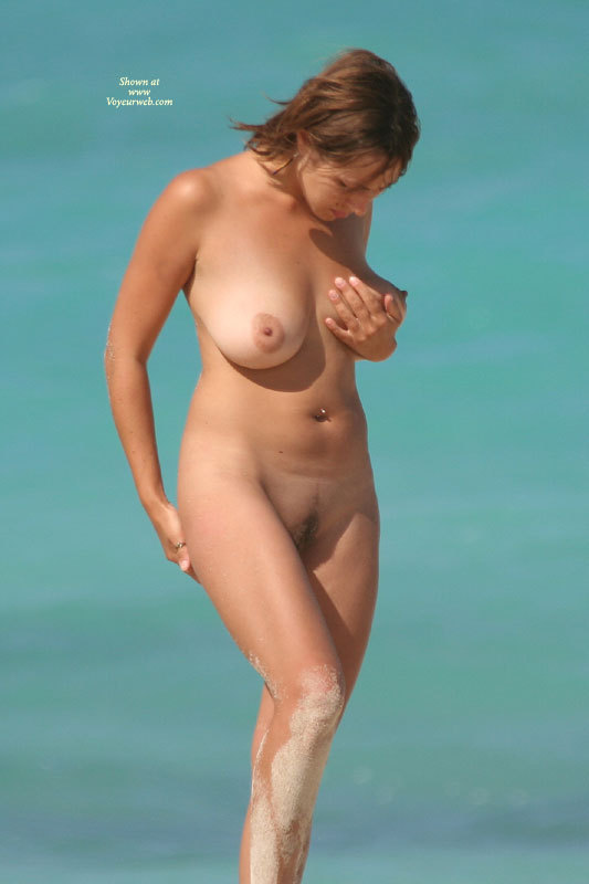 Beach Nude - Big Tits, Landing Strip, Nude Outdoors, Naked Girl, Nude Amateur , Hairy Bush, Holding Breast Up, Standing Full Frontal, Medium Landing Strip, Natural Breasts, Big Areolas, Pierced Tummy Button