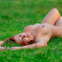 Redhead With Blue Eyes Naked On Grass With Erected Nipples - Blue Eyes, Erect Nipples, Red Hair