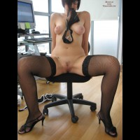 Nude At The Office - Hairy Bush, Spread Legs, Naked Girl, Nude Amateur
