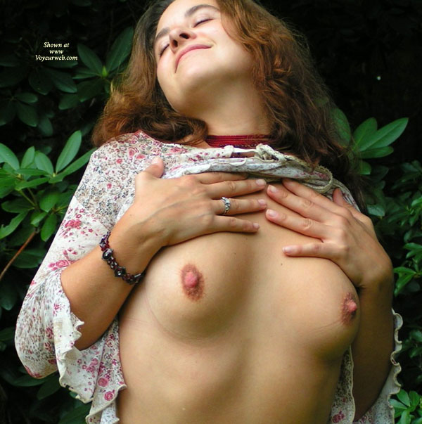 Pic #1 - Flashing Outdoors - Brunette Hair, Flashing Tits, Flashing, Long Hair, Showing Tits , Flashing Outdoors, Brunette, Flashing Tits, Flowered Dress, Long Brown Hair, No Bra, Exposed Tits, Blouse Lifted