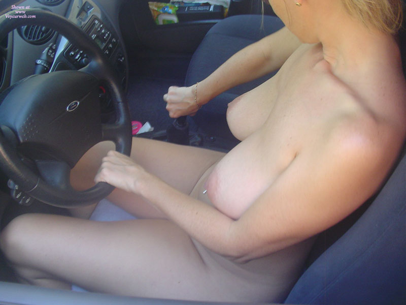 Pic #1 - Shifting Gears - Blonde Hair, Huge Tits, Pierced Nipples, Naked Girl, Nude Amateur , Steering Wheel In Hand, Pale Areolas And Nipples, Car Nude, Pierced Belly Button, Car Drive Naked, Driving My Ford Naked, Driving Nude, Banana Titties