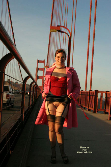 Pic #1 - Golden Gate Morning Flash - Brunette Hair, Flashing, Landing Strip, Nude Outdoors, Naked Girl, Nude Amateur , Flashing Pic, Sexy Feminine Hips And Thighs, Stockings And Heels, Nice Flash On Gg Bridge, Frontal Bottomless Upskirt, Stripped Bush, Pussy Flash