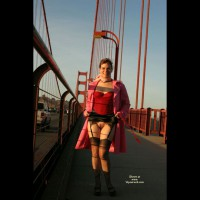 Golden Gate Morning Flash - Brunette Hair, Flashing, Landing Strip, Nude Outdoors, Naked Girl, Nude Amateur