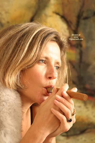 Pic #1 - Facial - Mature , Facial, Mature, Cigar Smoking, Blonde Smoking, Blond With Rings