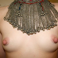 Topless With Small Breasts And Large Nipples Wearing Silver Beaded Necklace - Erect Nipples, Large Breasts, Small Breasts, Small Tits, Topless