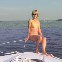 Naked On Boat - Mature, Navel Piercing, Nude On Boat, Short Hair, Small Tits