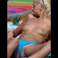 BLOND TOPLESS AT THE BEACH - Blonde Hair, Navel Piercing, Shaved Pussy, Topless, Beach Voyeur
