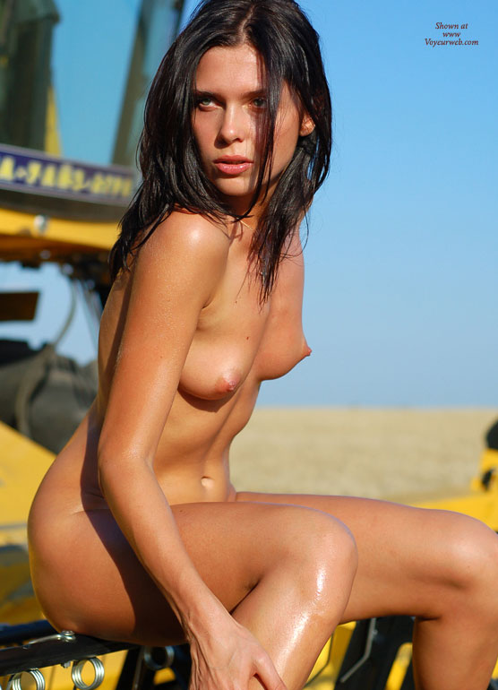 Sitting Nude Outdoors - Black Hair, Erect Nipples, Long Hair, Small Breasts, Naked Girl, Nude Amateur , Black Hair Naked Girl, Cone Shaped Areolas, Sexy Mouth, Perky, Small Soft Breasts, Green Eyes, Oiled Body, Small Erect Nipples