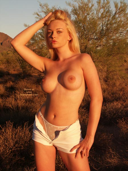 Pic #1 - Topless With Open Shorts And Panties - Nude Amateur , Topless With Open Shorts And Panties, Blonde At Sunset, Outdoors Posing, Large Firm Breasts, White G-string Panties, Short Shorts, Sunset Nude