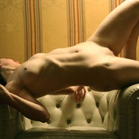 Nude Stretched Across Chair - Firm Tits, Natural Tits, Shaved Pussy, Small Tits, Naked Girl, Nude Amateur