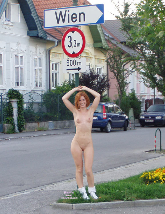 Full Frontal Only Wearing Footwear - Exhibitionist, Nude In Public, Red Hair, Shaved Pussy, Small Breasts, Naked Girl, Nude Amateur , Redhead Outdoors, Leaning Against Signpost, Naked Exhibitionist, Cheeky Smile, Standing Hands Up Showing Arm Pits, Road Sign Wien, Hot Slender Red Headed Frau, Curvy Hips, Slim Body, White Ankle Boots, Arms Above Head, Shave Pussy Legs Closed, Sticking Her Hip Out To One Side, Beautiful Friendly Smile To Camera
