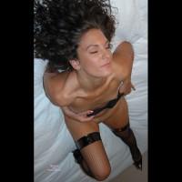 Black Vinyl Topped Fishnet Stockings - Black Hair, Brown Hair, Brunette Hair, Heels, Stockings