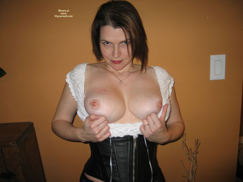 Pic #1 - Indoor Tits - Brown Hair , C-cup Tits, White Blouse With Exposed Tits, Black Corset Nice Tits, Black Corset, Leather Corset, Short, Tits Out, Wedding Ring, Red Lipstick