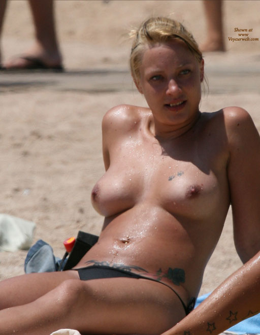 Pic #1 - Natural Wet Beach Titties - Blonde Hair, Erect Nipples, Topless Beach, Beach Tits, Beach Voyeur, Sexy Girl , People In The Background, Blonde Hair Tied Up, Wet Body, Smiling At Off-camera Scene, Sunbathing Tits, Reclining On The Beach, Girl Next Door, At The Beach, Tattoo Girl, Medium Natural Breasts