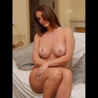 Sitting Topless On Bed - Huge Tits, Large Breasts, Red Hair, Topless, Naked Girl, Nude Amateur