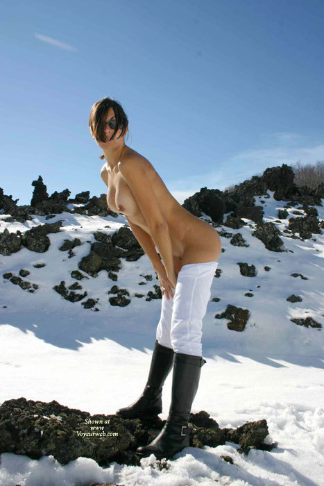 Pic #1 - Sexy Nude Wife In Snow - Brown Hair, Brunette Hair, Large Breasts, Nude Outdoors, Sunglasses, Topless, Naked Girl, Nude Amateur, Nude Wife, Sexy Wife , Contrasting Boots And Pants, Black Boots And White Snow, Hot Wife, Pantyless And Topless In Cold Air., Dark Sunglasses, Black Riding Boots, White Riding Pants, Snow Bunny With Boots