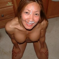 Smiling Cum Face - Brown Eyes
