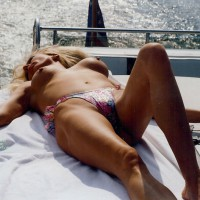 Topless Wife On The Boat - Blonde Hair, Long Hair, Milf, Topless, Topless Wife