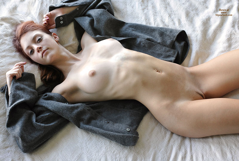 Slim Nude Redhead Lying On Back - Landing Strip, Red Hair, Naked Girl, Nude Amateur , Slim Redhead On Back With Shirt Open, Sweet Face, Laying On Back, Firm Breast, Sweet Pussy, Laying Naked, Laying Nude, Grey Jacket, Skinny Landing Strip, Arms Up Near Her Head, Ready For Examination