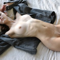 Slim Nude Redhead Lying On Back - Landing Strip, Red Hair, Naked Girl, Nude Amateur