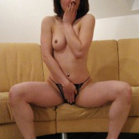 Surprised Topless Brunette On Couch - Brown Hair, Brunette Hair, Milf, Perfect Tits, Perky Tits, Spread Legs, Topless, Small Areolas