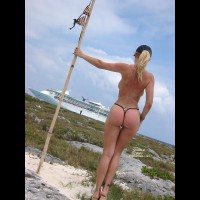 Showing Boobs To Cruiseship - Blonde Hair, On Beach, Topless Girl