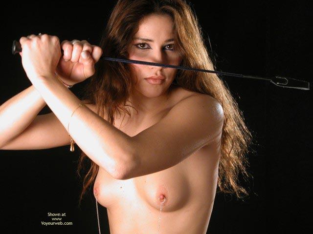 Pic #1 - Nude With Riding Crop , Nude With Riding Crop, Nipple Chains On Brunette, Nipple Chain, Nipple Rings