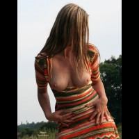 Wife Flashing Her Huge Tits Out Of Stripped Dress - Blonde Hair, Brown Hair, Brunette Hair, Flashing, Huge Tits, Large Aerolas, Long Hair